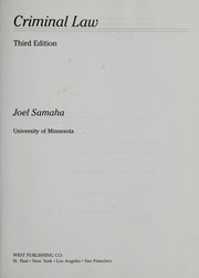 Cover of: Criminal law | Joel Samaha