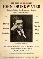 "Cover of: John Drinkwater, England's brilliant dramatist, poet and essayist, author of ""Abraham Lincoln"""