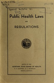 Cover of: Public health laws and regulations | Montana