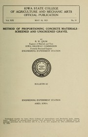 Cover of: Method of proportioning concrete materials--screened and unscreened gravel