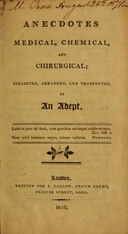 Cover of: Anecdotes medical, chemical and chirurgical