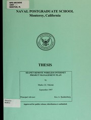 Cover of: SEANET remote wireless internet Project Management Plan