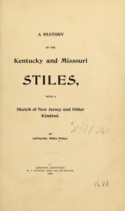 Cover of: A history of the Kentucky and Missouri Stiles