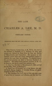 Cover of: The late Charles A. Lee