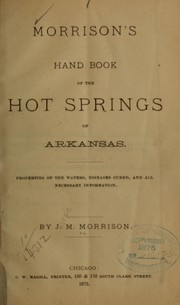 Cover of: Morrison's hand book of the Hot Springs of Arkansas