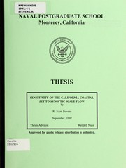 Cover of: Sensitivity of the California Coastal Jet to synoptic scale flow