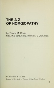 Cover of: The A-Z of homoeopathy
