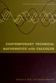 Cover of: Contemporary technical mathematics with calculus | Richard S. Paul