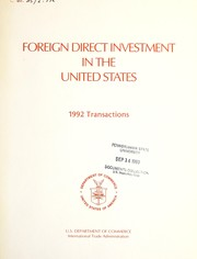 Cover of: Foreign Direct Investment in the United States