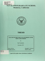 Cover of: Analysis of First Price Sealed Bidding (FPSB) using game theory