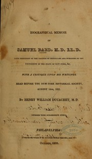 Cover of: A biographical memoir of Samuel Bard