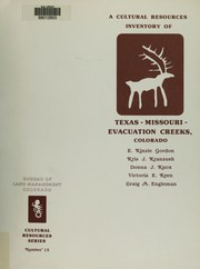 Cover of: A Cultural resources inventory of the Texas-Missouri-Evacuation Creeks study area, Rio Blanco County, Colorado