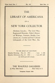 Cover of: The library of Americana of a New York collector