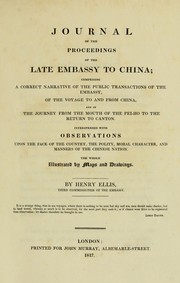 Cover of: Journal of the proceedings of the late embassy to China