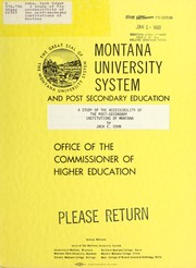 Cover of: A study of the accessibility of the post-secondary institutions of Montana