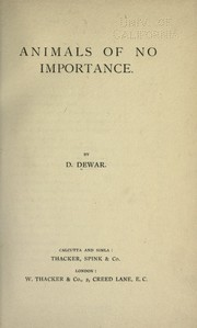 Cover of: Animals of no importance