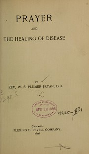 Cover of: Prayer and the healing of disease