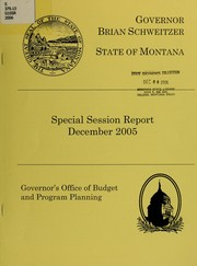Cover of: Special session report December 2005