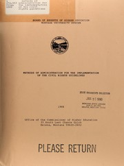 Cover of: Methods of administration for the implementation of the civil rights guidelines