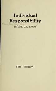 Cover of: Individual responsibility
