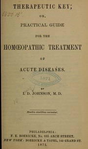 Cover of: Therapeutic key | Isaac D. Johnson