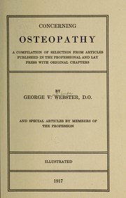 Cover of: Concerning osteopathy