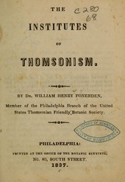 Cover of: The institutes of Thomsonism