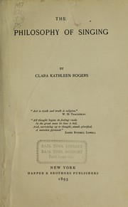 Cover of: The philosophy of singing