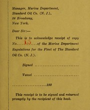 Cover of: Marine department regulations, for the seagoing personnel, Standard oil company ...