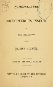 Cover of: Nomenclature of coleopterous insects in the collection of the British Museum | British Museum