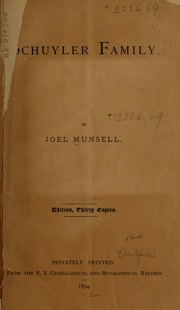 Cover of: Schuyler family