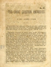 Cover of: The great question answered