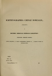 Cover of: Ichthyographia Chinae borealis
