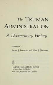 Cover of: The Truman administration
