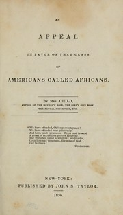 Cover of: An appeal in favor of that class of Americans called Africans