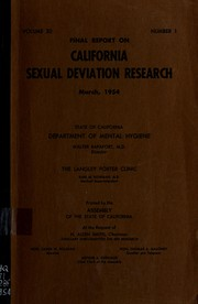 Cover of: Final report on California sexual deviation research. | Langley Porter Neuropsychiatric Institute