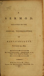 Cover of: A sermon preached on the annual Thanksgiving in Massachusetts, November 27, 1800
