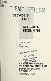 Cover of: Decade's end, decade's beginning