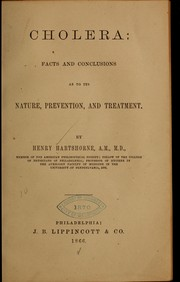 Cover of: Cholera: facts and conclusions as to its nature
