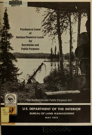 Cover of: Purchase or lease of national resource lands for recreation and public purposes