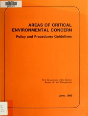 Cover of: Areas of Critical Environmental Concern (ACEC's)