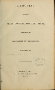 Cover of: Memorial soliciting a state hospital for the insane