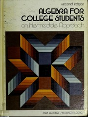 Cover of: Algebra for college students | Max A. Sobel