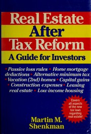 Cover of: Real estate after tax reform: a guide for investors