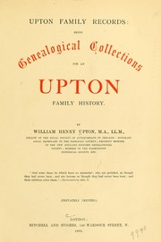 Cover of: Upton family records | William Henry Upton