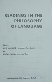 Cover of: Readings in the philosophy of language