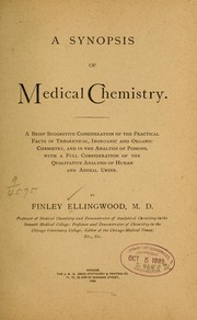 Cover of: A synopsis of medical chemistry