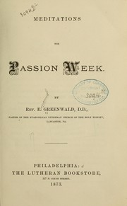 Cover of: Meditations for passion week