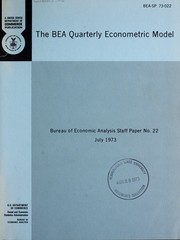 Cover of: The BEA quarterly econometric model