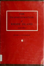 Cover of: The transformation of Rhode Island, 1790-1860